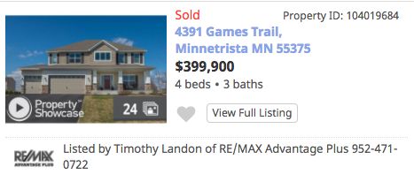 Homes Sold Games Trail Minnetrista