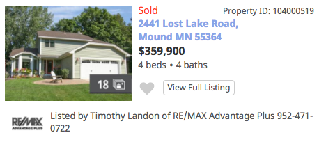 Homes Sold Lost Lake Mound